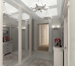 белая мебель в небольшом коридоре