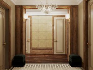 коричневая гамма в коридоре