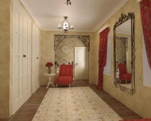 красные шторы в коридоре