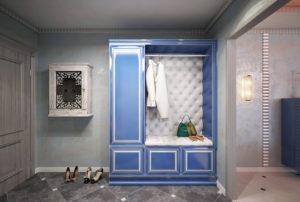 синий шкаф в дизайне прихожей