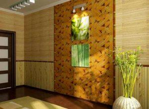 отделка стен бамбуком в прихожей