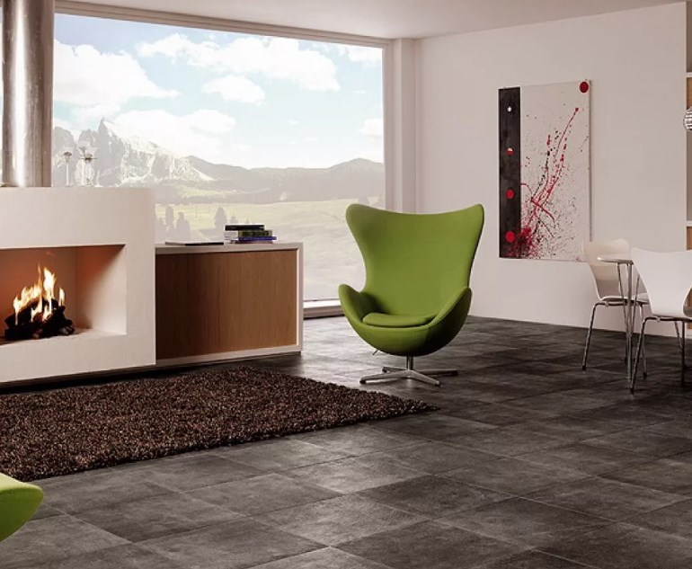 керамическая плитка при дизайнерском интерьере