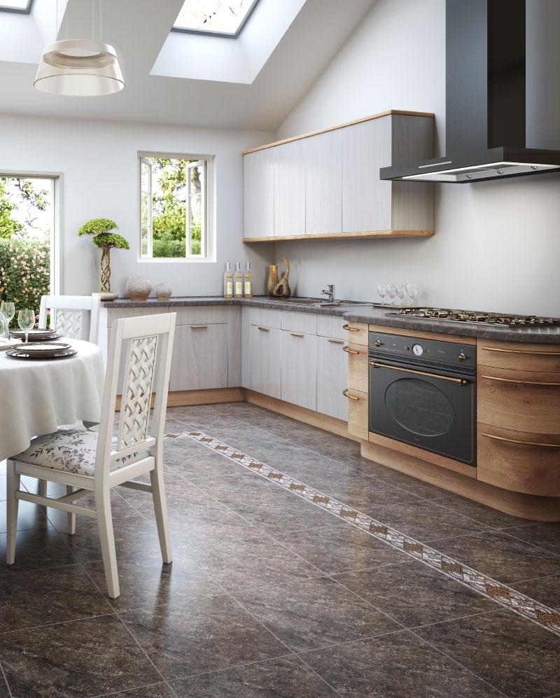 фото дизайна кухни с керамической плиткой на полу