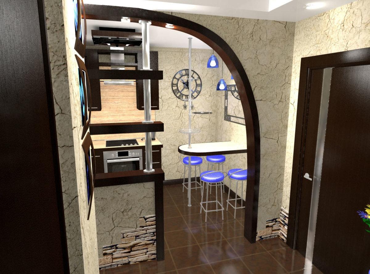 кухня и прихожая с керамической плиткой