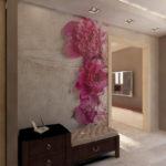 цветок на стене из жидких обоев