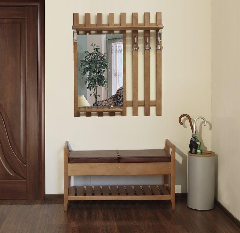 Деревянная вешалка с зеркалом