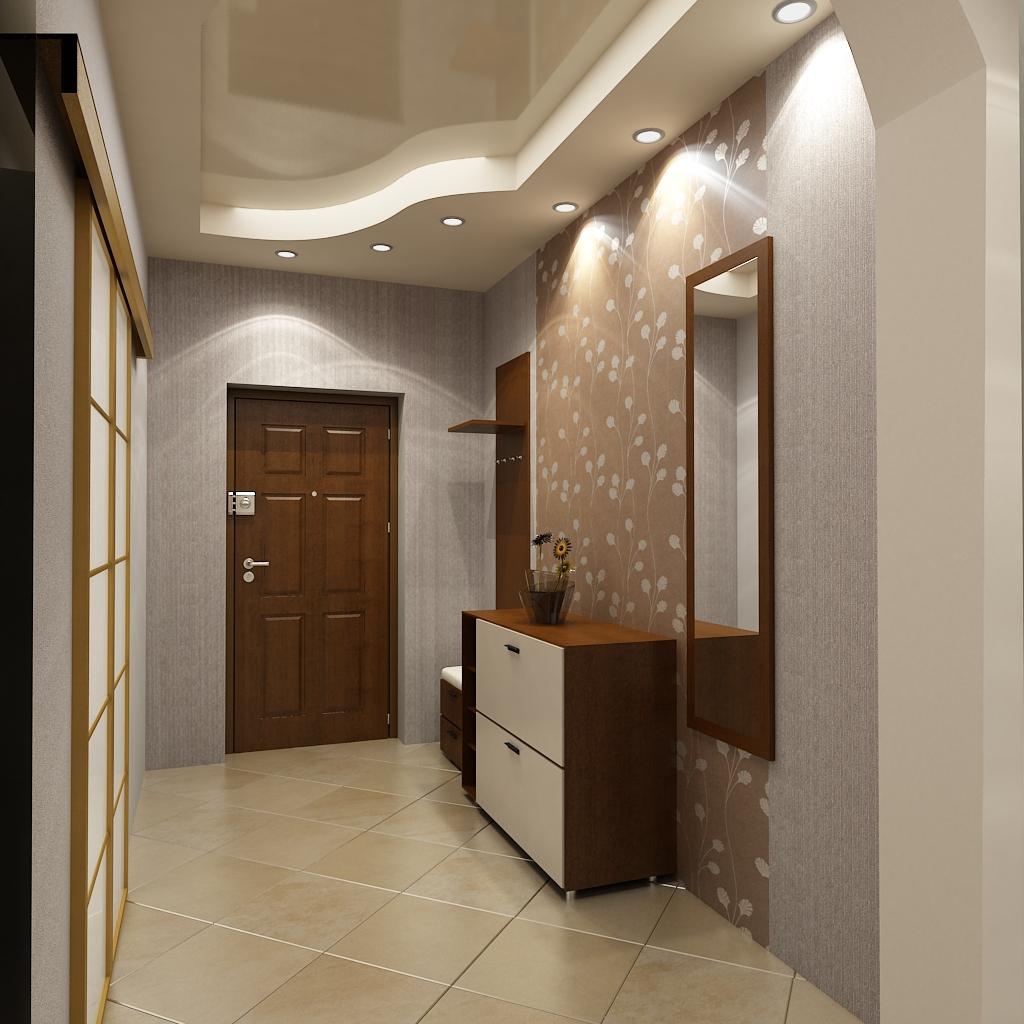 гипсокартонный потолок с подсветкой в прихожей