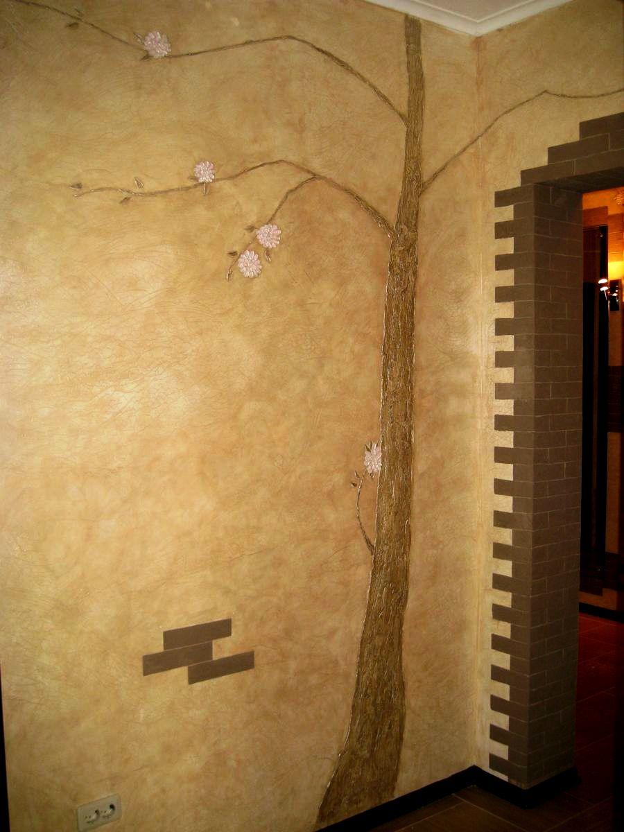 как украсить оштукатуренную стену в коридоре фото бибинур бежит тропинке