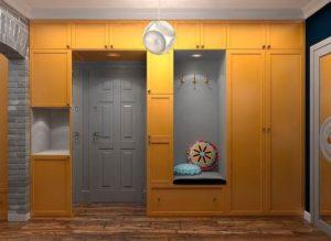 Цветной встроенный шкаф