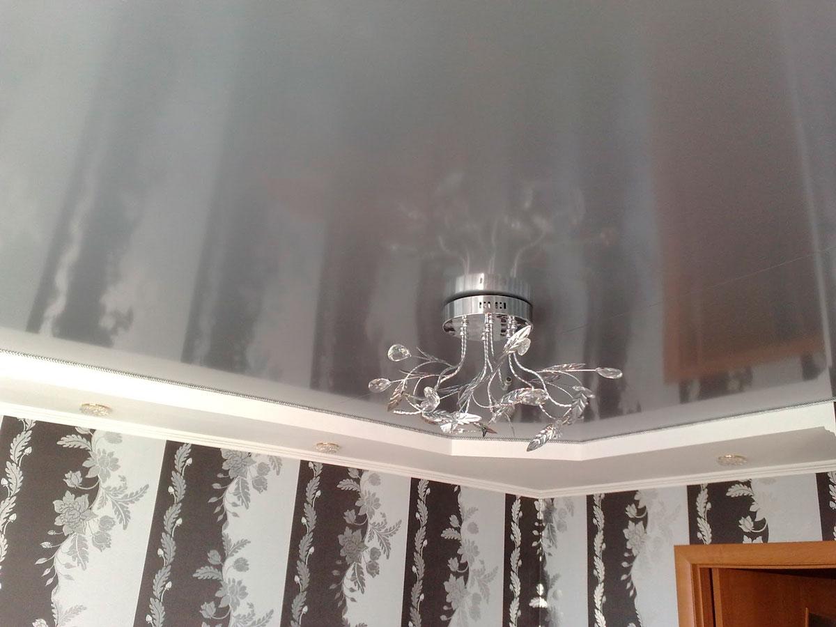 Натяжной потолок металик в прихожей.