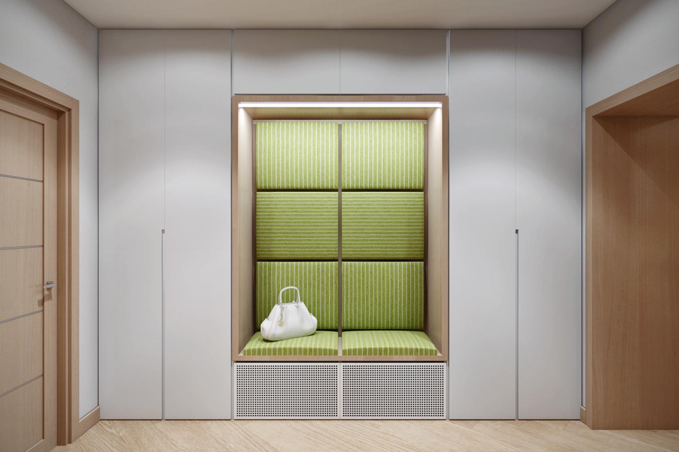 встроенный шкаф в серо-зеленых тонах