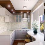 белая кухня-коридор