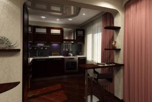 дизайнерская кухня в коридоре