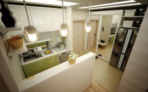 фото кухни совмещенной с коридором