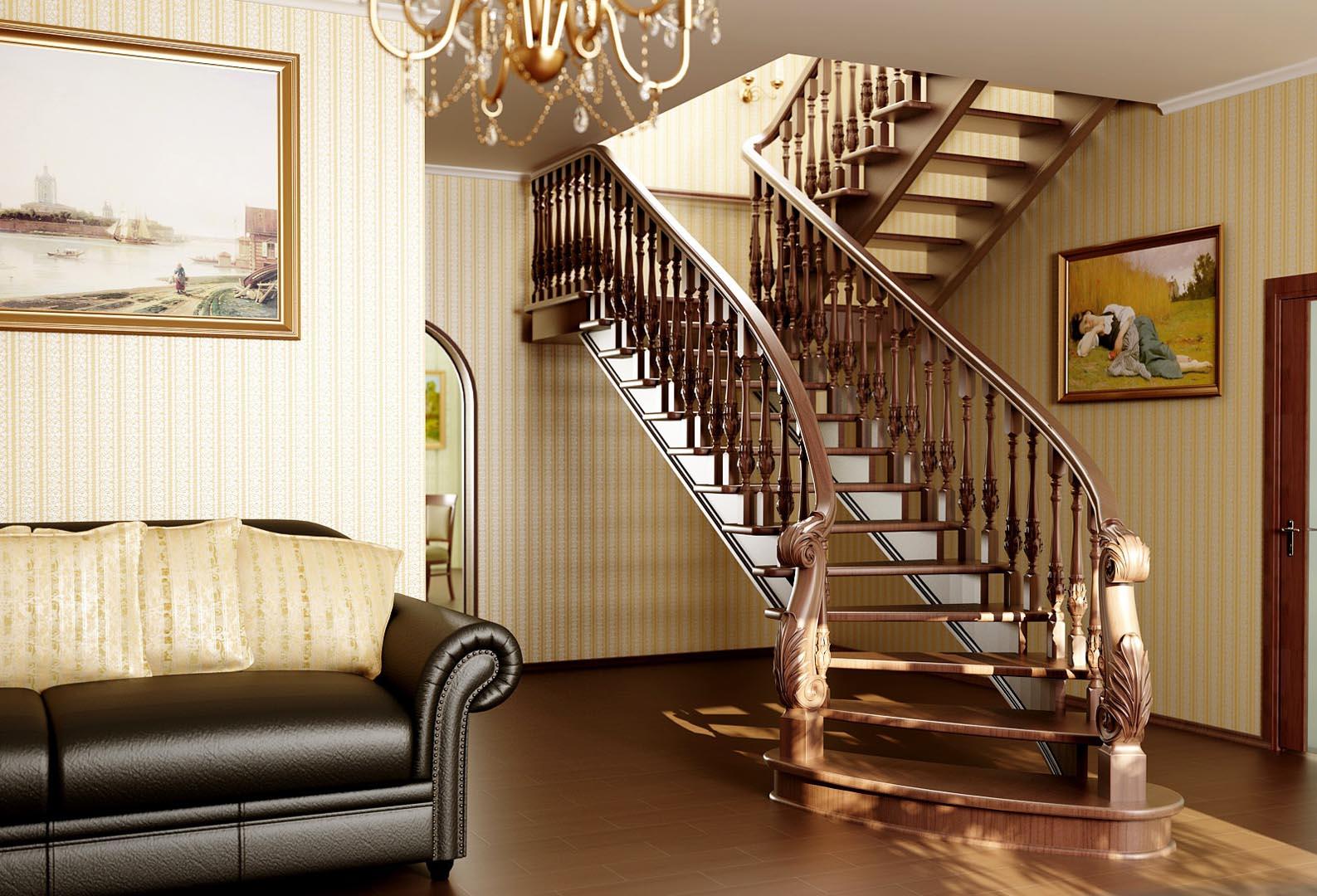 интерьер лестницы в прихожей