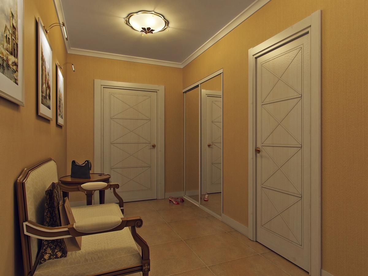 коридор с потолочной лампой