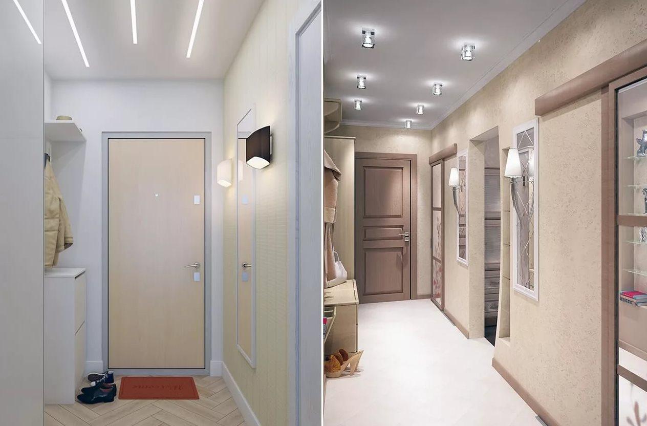 коридор с потолочными лампами