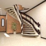 красивый дизайн полувинтовой лестницы в прихожей