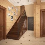 лестница из дерева в прихожей