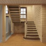 """лестница """"шахматы"""" в деревянный дом"""