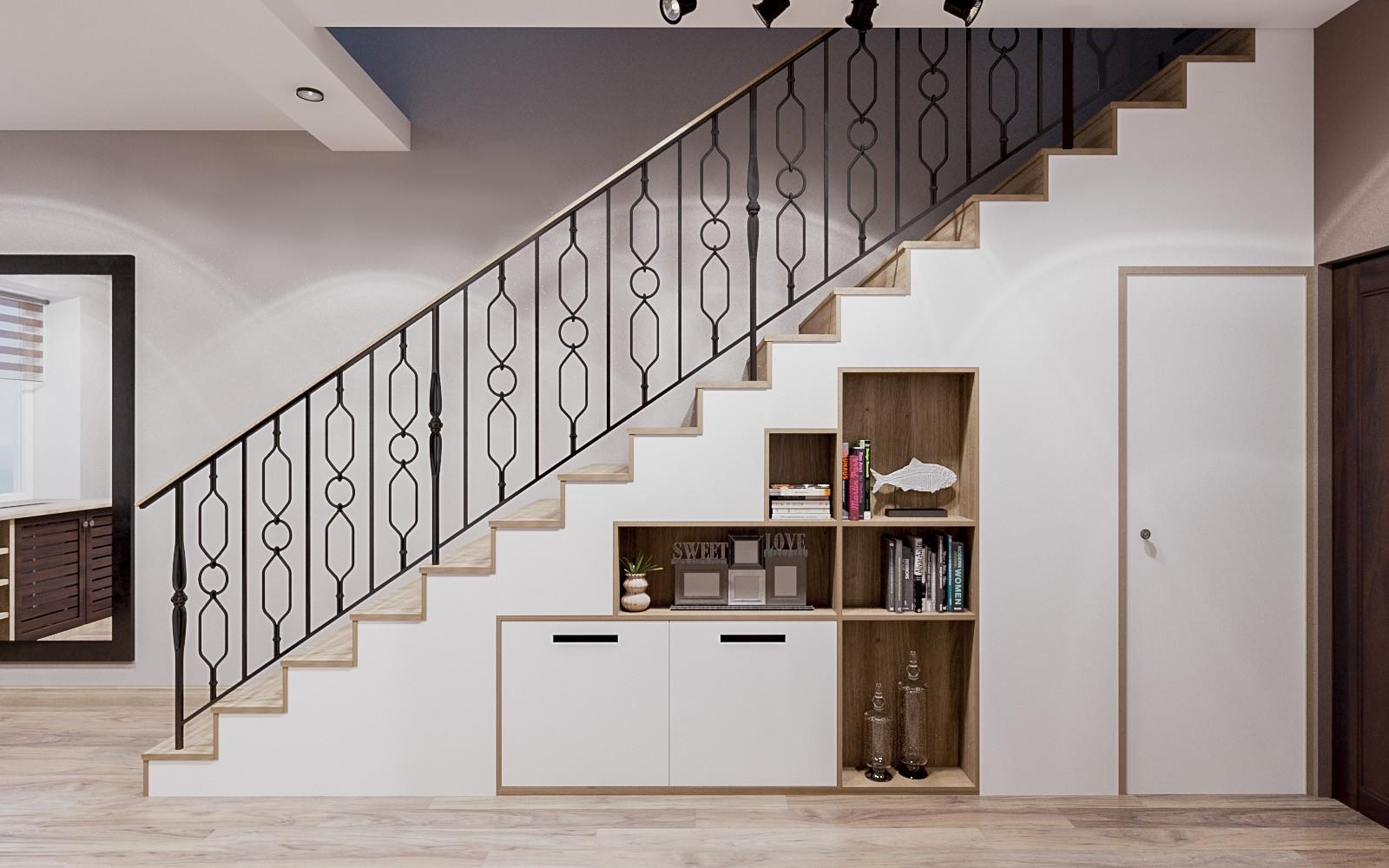 лестница внизу с шкафами