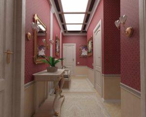 оформление стен обоями в коридоре