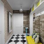 декоративные кирпичи на стене в коридоре