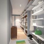 длинный коридор с мебелью на одной стороне