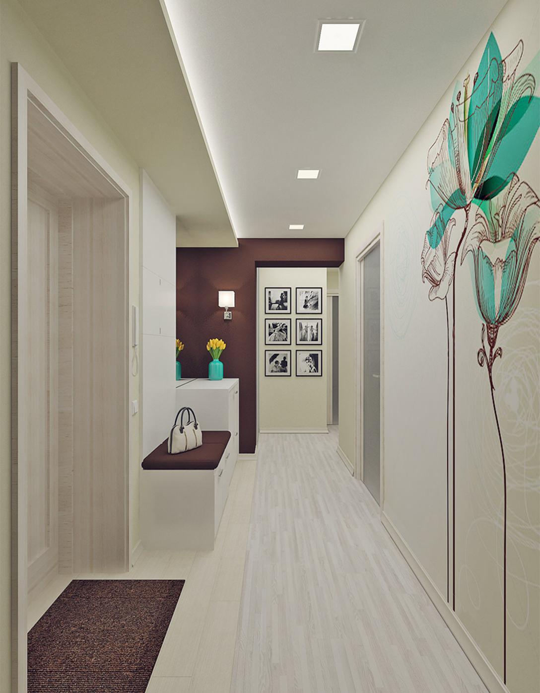 фото обоев в белом коридоре.