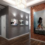 оформление углового коридора декоративным камнем