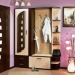 угловая прихожая с фиолетовыми стенами и вазой