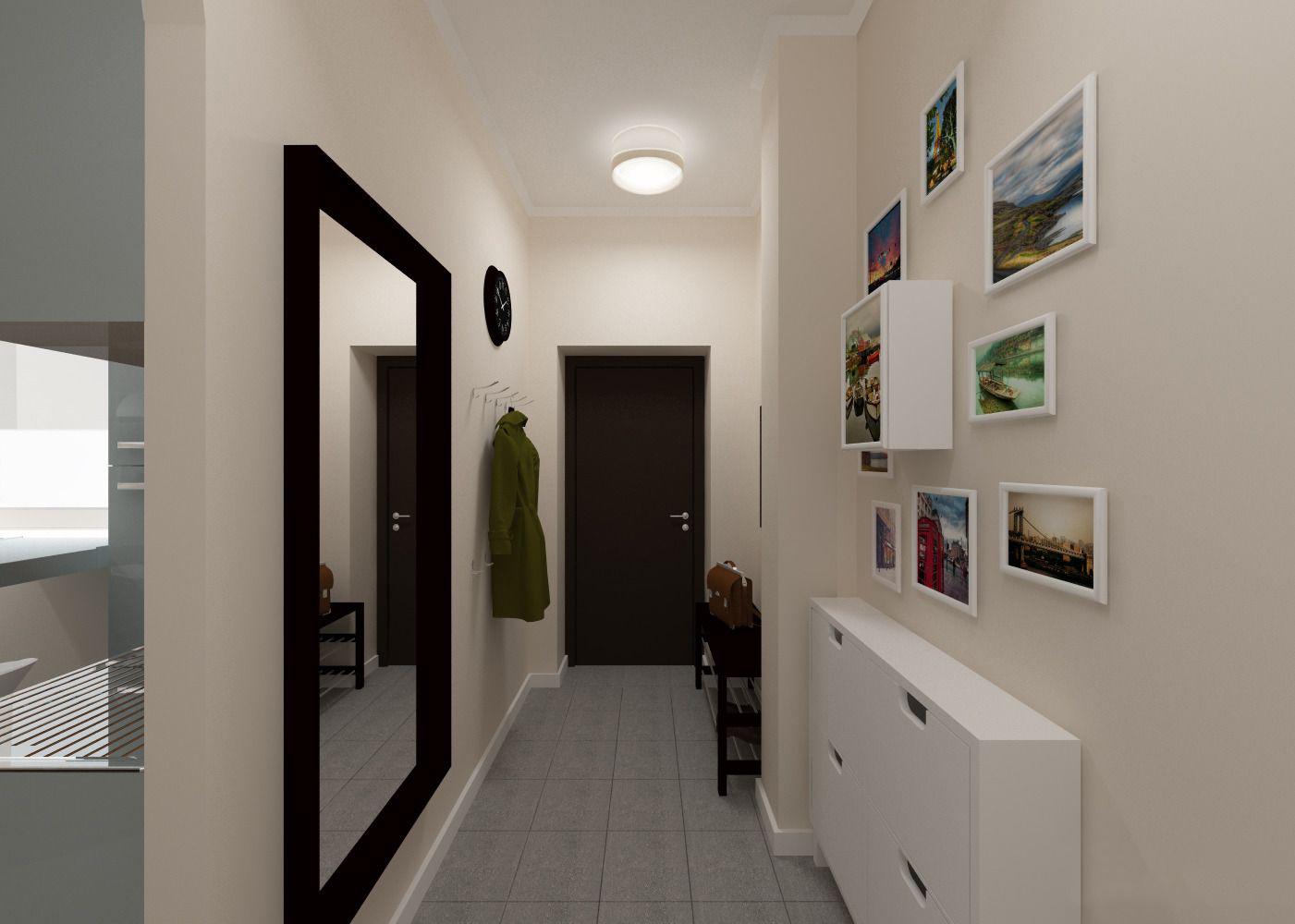 Дизайн,освещение и большие зеркала в прихожей