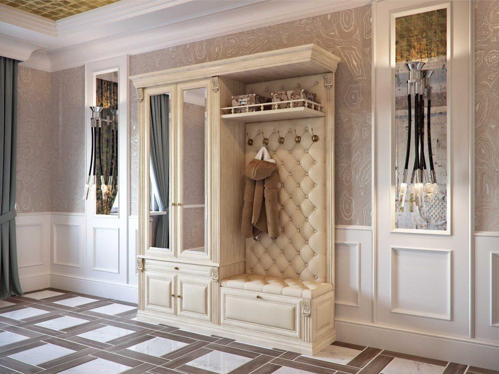 Белая мебель с каретной стяжкой с зеркалами.