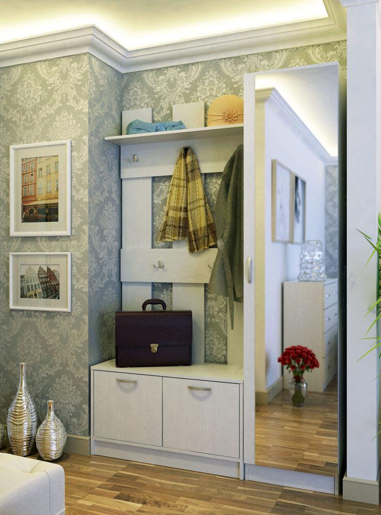 Белый узкий шкаф с зеркалом в прихожую.