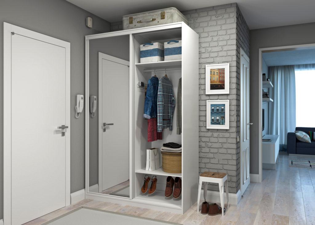 Белый узкий шкаф в коридор.