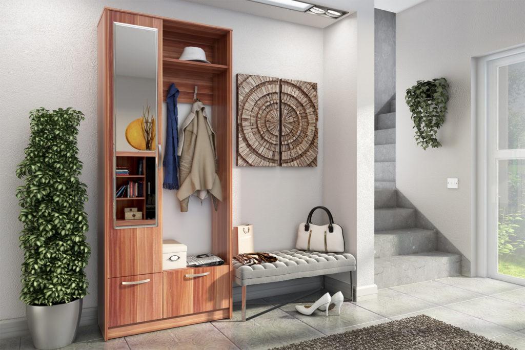 Деревянный узкий шкаф для прихожей.