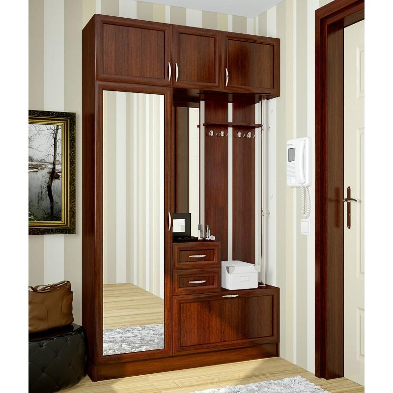 Деревянный узкий шкаф для прихожей с зеркалом.