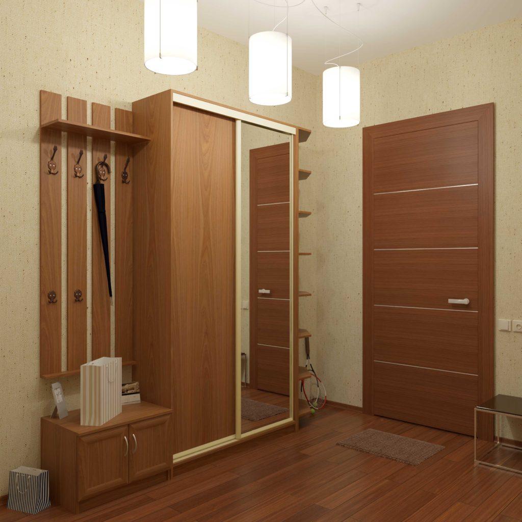 Деревянный узкий шкаф-купе в коридор.
