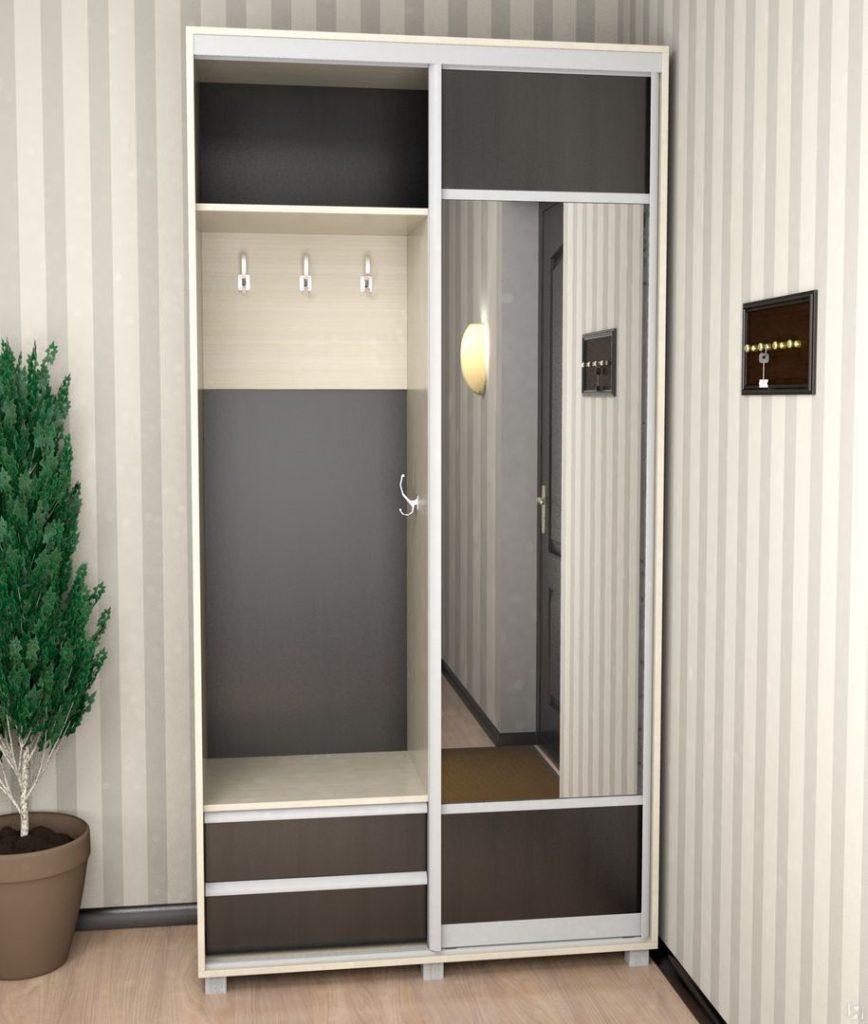 Минималистический узкий шкаф с зеркалом.