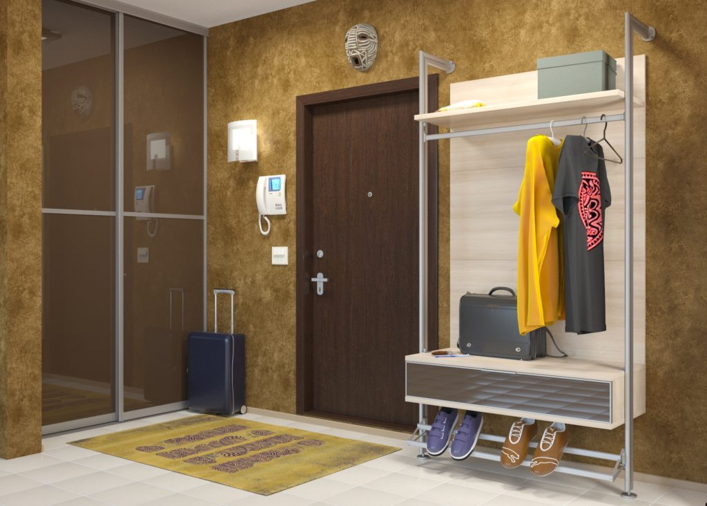 Минималистический шкаф-вешалка в коридор.