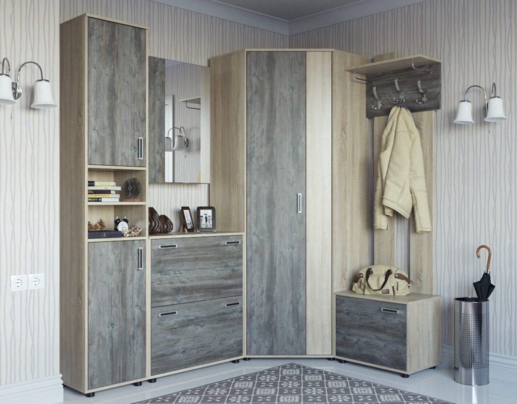 Серый шкаф-вешалка для прихожей.