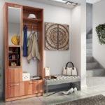 деревянный шкаф в прихожей стиля минимализм