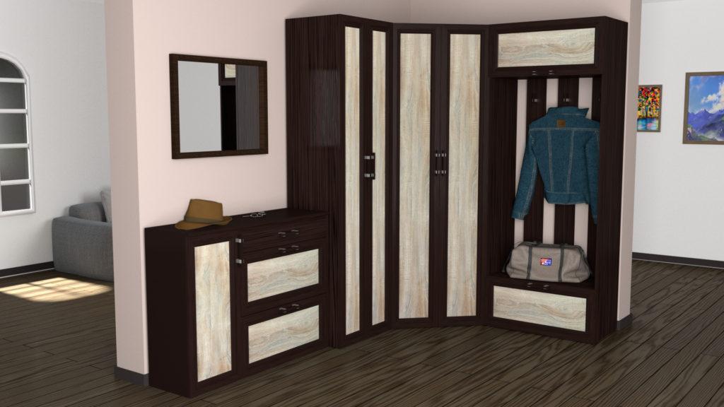 Массивный шкаф-вешалка для прихожей.