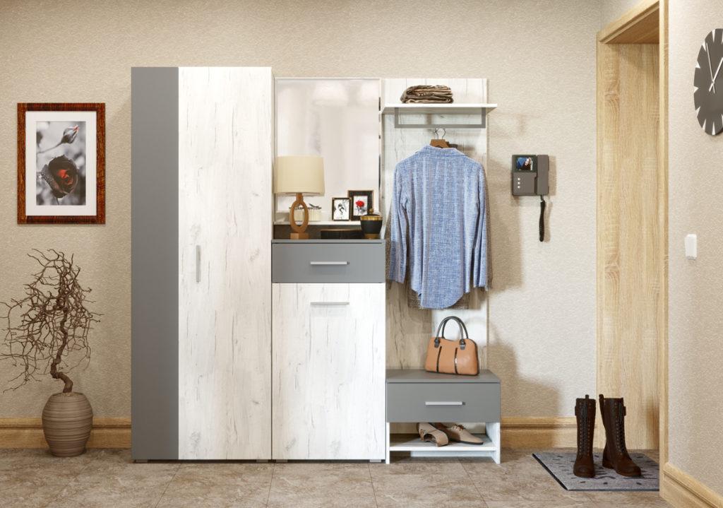 Узкий шкаф в скандинавском стиле.
