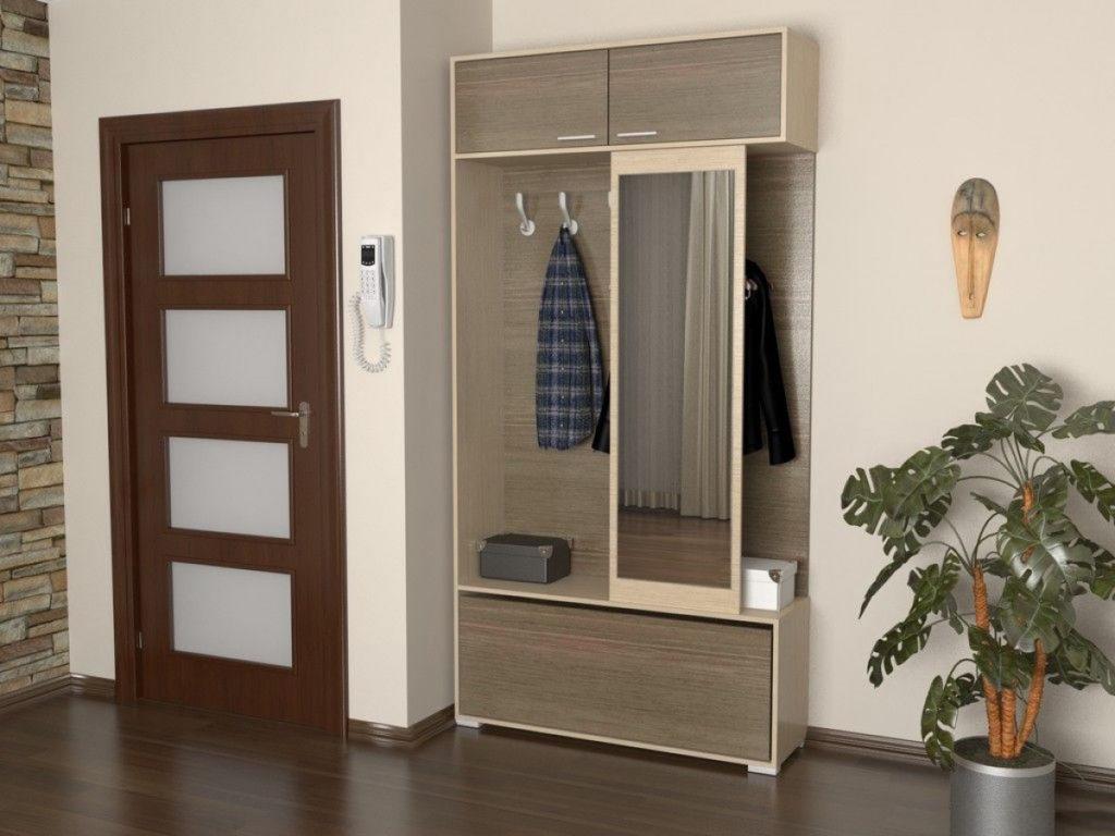 Узкий шкаф в скандинавском стиле для прихожей.