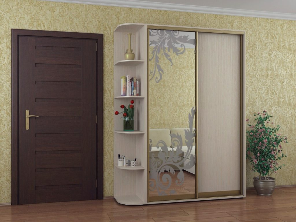 Зеркальный шкаф-купе с рисунком
