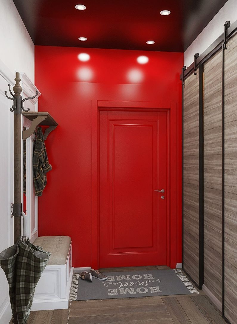 красная стена в квартире