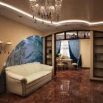 белый кожанный диван в квартире