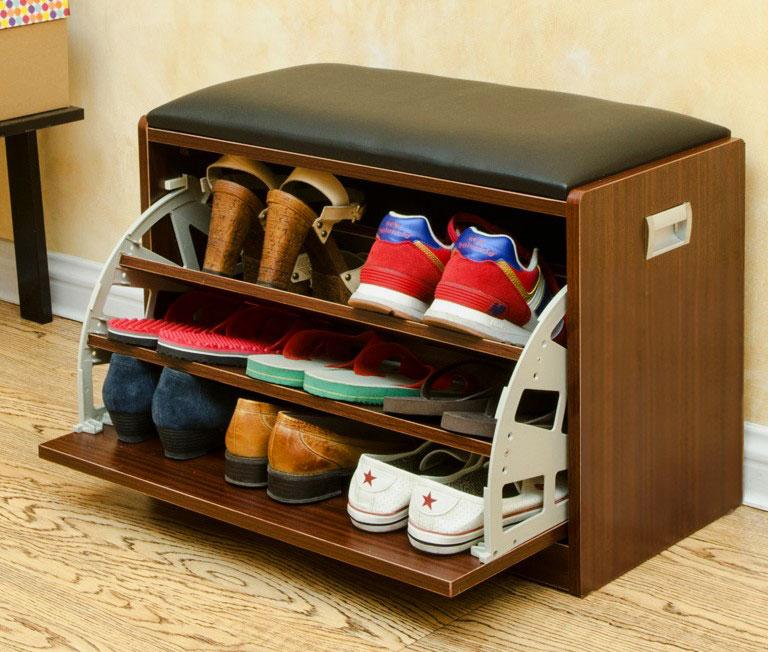 компактная тумба для обуви с откидной дверцей