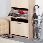 деревянная обувница с выдвижными дверцами